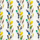 水彩用羽毛装饰无缝的样式 手画纹理 皇族释放例证