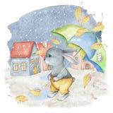 水彩秋天场面用逗人喜爱的兔子、伞、房子和雨 免版税图库摄影