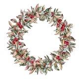 水彩秋天花卉花圈用莓果 手画分支用在白色背景隔绝的白色和红色莓果 免版税库存照片