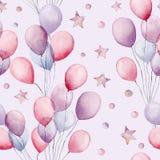 水彩空气轻快优雅和星大无缝的样式 与五颜六色的气球和星的手画例证 库存图片