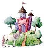 水彩童话卡片witn城堡和独角兽 手画绿色树和灌木,城堡,独角兽被隔绝  皇族释放例证