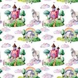 水彩童话大样式witn独角兽、云彩和城堡 手画绿色树和灌木,城堡,彩虹 库存图片