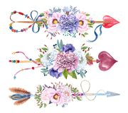 水彩箭头设置与花花束 免版税图库摄影
