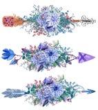 水彩箭头设置与花花束 免版税库存照片