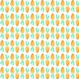 水彩红萝卜无缝的样式 复活节假日 对设计、卡片、印刷品或者背景 库存照片