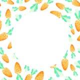 水彩红萝卜无缝的框架 复活节假日 对设计、卡片、印刷品或者背景 免版税库存图片