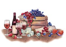 水彩红葡萄酒玻璃和瓶装饰用可口食物 图库摄影