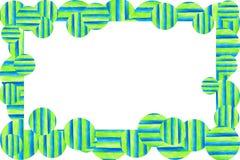 水彩纹理背景框架 手拉的五颜六色的条纹和圈子 库存例证