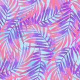 水彩绘在难看的东西织地不很细背景的梯度棕榈叶 皇族释放例证
