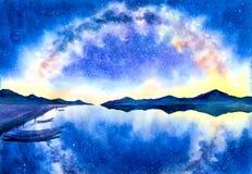 水彩绘画-与星系的繁星之夜 皇族释放例证