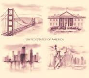 水彩美国人风景的手拉的收藏 免版税库存照片