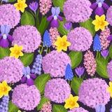 水彩自然花花圈例证无缝的样式 免版税库存照片