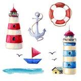 水彩船舶元素收藏 在白色背景隔绝的各种各样的灯塔 红色和蓝色镶边的例证 库存例证