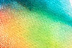 水彩艺术在白色水彩纹理背景的手油漆 库存图片