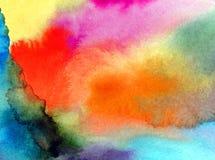 水彩艺术摘要背景天空覆盖日出日落彩虹纹理未充分干燥即送回的洗好的衣服被弄脏的幻想 库存照片