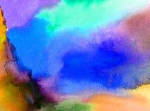 水彩艺术摘要背景天空覆盖日出日落彩虹纹理未充分干燥即送回的洗好的衣服被弄脏的幻想 库存图片