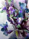 水彩艺术摘要背景新美好的花卉虹膜花瓶现代织地不很细未充分干燥即送回的洗好的衣服弄脏了幻想 库存图片