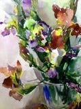 水彩艺术摘要背景新美好的花卉虹膜花瓶现代织地不很细未充分干燥即送回的洗好的衣服弄脏了幻想 免版税图库摄影