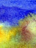 水彩艺术摘要背景沿海沙子海滩明亮的被弄脏的织地不很细装饰手美丽的溢出污点墙纸 库存照片
