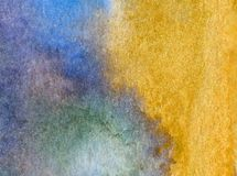 水彩艺术摘要背景沿海沙子海滩明亮的被弄脏的织地不很细装饰手美丽的溢出污点墙纸 免版税图库摄影