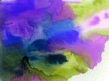 水彩艺术摘要背景紫罗兰色青绿的未充分干燥即送回的洗好的衣服明亮的被弄脏的充满活力的织地不很细五颜六色的de 免版税库存照片
