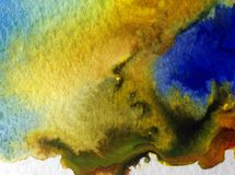 水彩艺术摘要背景美丽的沿海海湾地图现代织地不很细未充分干燥即送回的洗好的衣服弄脏了幻想 免版税库存照片