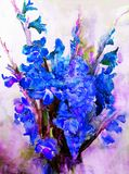 水彩艺术摘要背景美丽的百花香异乎寻常的剑兰开花现代织地不很细未充分干燥即送回的洗好的衣服被弄脏的幻想 库存例证