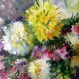 水彩艺术背景五颜六色的自然夏天白色黄色桃红色美丽的花开花大丽花庭院 免版税图库摄影