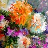 水彩艺术背景五颜六色的花大花束大丽花白色桔子 免版税库存照片