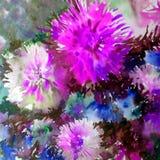 水彩艺术背景五颜六色的花大花束大丽花白色蓝色紫罗兰 库存照片