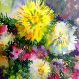 水彩艺术背景五颜六色的花大花束大丽花白色蓝色黄色紫罗兰 免版税库存照片