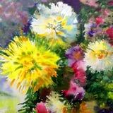 水彩艺术背景五颜六色的花大花束大丽花白色蓝色黄色 库存照片