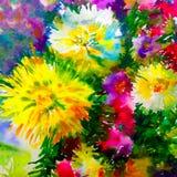 水彩艺术背景五颜六色的花大花束大丽花白色黄色桃红色 免版税库存照片