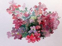 水彩艺术背景五颜六色的花狂放的庭院 免版税库存照片