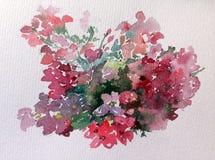 水彩艺术背景五颜六色的花狂放的庭院 图库摄影