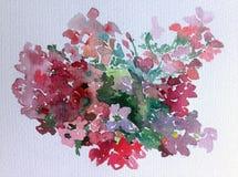 水彩艺术背景五颜六色的花狂放的庭院 免版税图库摄影