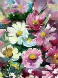水彩艺术背景五颜六色的花狂放的草甸 库存图片