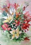 水彩艺术背景五颜六色的花百合花束 库存照片