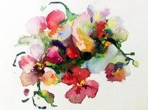 水彩艺术背景五颜六色的黄色红色花兰花紫罗兰色桃红色浪漫 免版税库存图片
