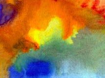 水彩艺术背景摘要五颜六色的织地不很细云彩天空污点弄脏浪漫的溢出 免版税图库摄影
