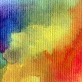 水彩艺术背景摘要彩虹紫罗兰色蓝色黄色红色橙色愉快五颜六色织地不很细 免版税库存图片