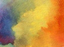 水彩艺术背景摘要橙黄红色蓝色紫罗兰色彩虹愉快五颜六色织地不很细 库存照片