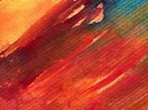 水彩艺术背景摘要温暖的秋天五颜六色的织地不很细红色橙色冲程 库存图片