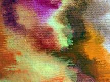 水彩艺术背景摘要秋天五颜六色的织地不很细温暖的冲程 免版税库存图片