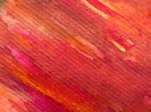 水彩艺术背景摘要秋天五颜六色的织地不很细红色橙色冲程 免版税图库摄影
