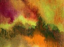 水彩艺术背景摘要秋天五颜六色的织地不很细红色橙黄色温暖的冲程 库存图片