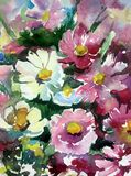 水彩艺术背景摘要紫色白色紫罗兰开花狂放五颜六色织地不很细 免版税库存照片