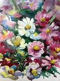 水彩艺术背景摘要紫色白色紫罗兰开花狂放五颜六色织地不很细 库存图片