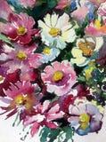 水彩艺术背景摘要紫色白色紫罗兰开花狂放五颜六色织地不很细 图库摄影