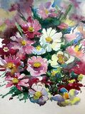 水彩艺术背景摘要紫色白色紫罗兰开花狂放五颜六色织地不很细 免版税库存图片